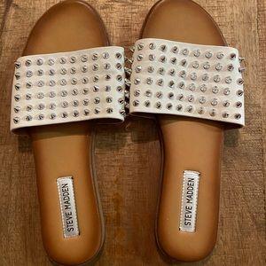 White studded Steve Madden sandals
